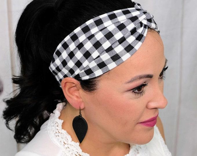 Buffalo Plaid Black White Checkered Headband / Twisted Turban / One Size Fits Most / Busy Bee Headbands