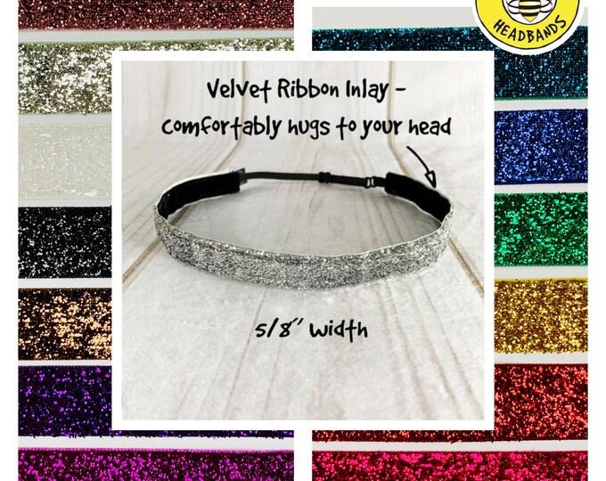 """5/8"""" SPARKLE GLITTER Headbands / Running Headband / Workout Headband / Adjustable Nonslip Headband / Button Headband Option by Busy Bee"""