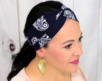 Navy Paisley Headband / Twisted Turban / One Size Fits Most / Busy Bee Headbands