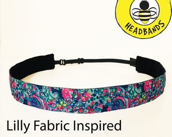 "Lilly Inspired EXOTIC ESCAPADE  (7/8"" width) Adjustable Nonslip Headband / Busy Bee Headbands / Fits 2 yrs to Adult / Athletic"