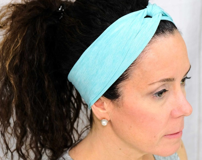 Athletic Turquoise Headband / Twisted Turban / One Size Fits Most / Busy Bee Headbands