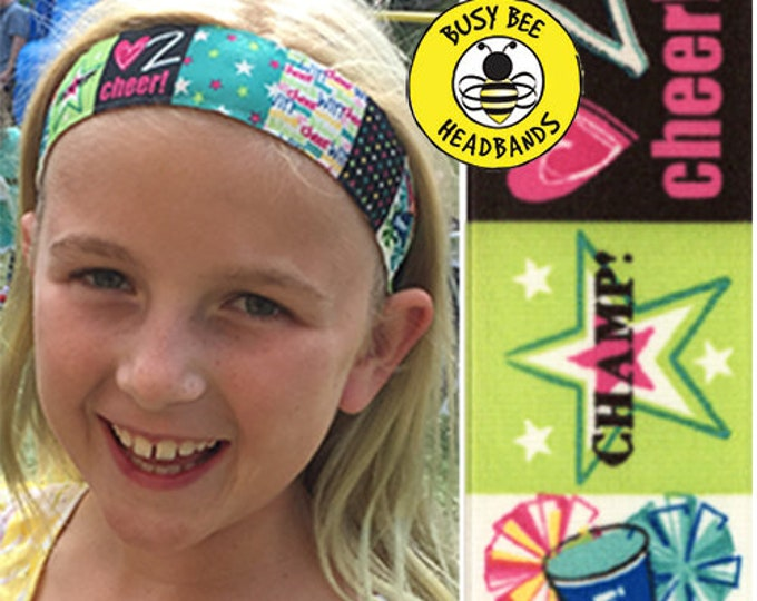 """Free Shipping! CHEER  (1.5"""" width) Adjustable Nonslip Headband / Busy Bee Headbands / Fits 2 yrs to Adult / Athletic"""