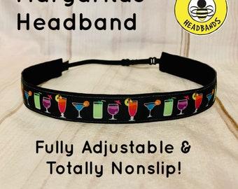 """7/8"""" WILL RUN for MARGARITAS Headband /  Running Runners Headband / Adjustable Nonslip Headband / by Busy Bee Headbands"""