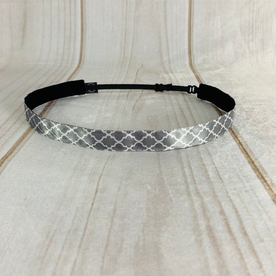 "Adjustable Nonslip GRAY Headband 5/8"" MOROCCAN Headband for Athletics & Fashion Fits Ages 2 Yrs to Adult by Busy Bee Headbands"