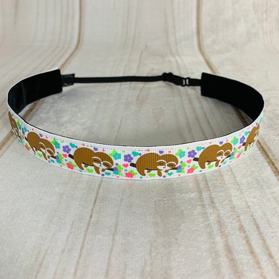 "7/8"" SLOTH Headband / Running Headband / Nonslip Headband / Adjustable Fitness Workout Headband / Gift for Sloth Lover / Busy Bee Headbands"