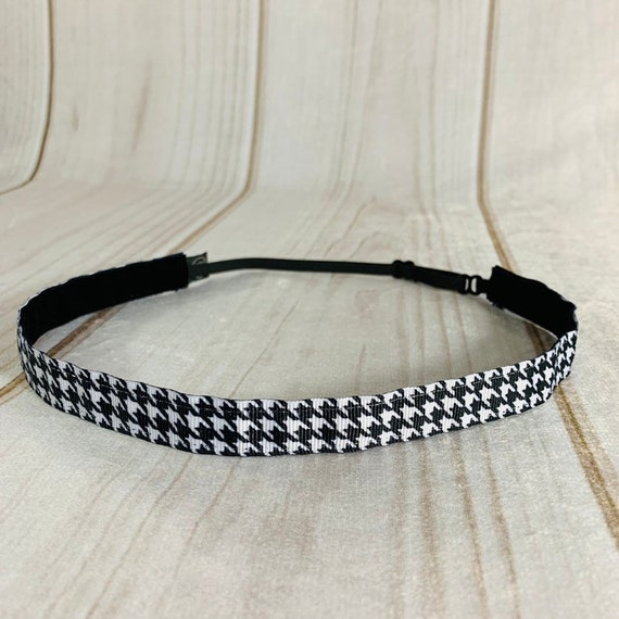 """Adjustable Nonslip HOUNDSTOOTH Headband 5/8"""" for Athletics & Fashion Fits Ages 2 Yrs to Adult by Busy Bee Headbands"""