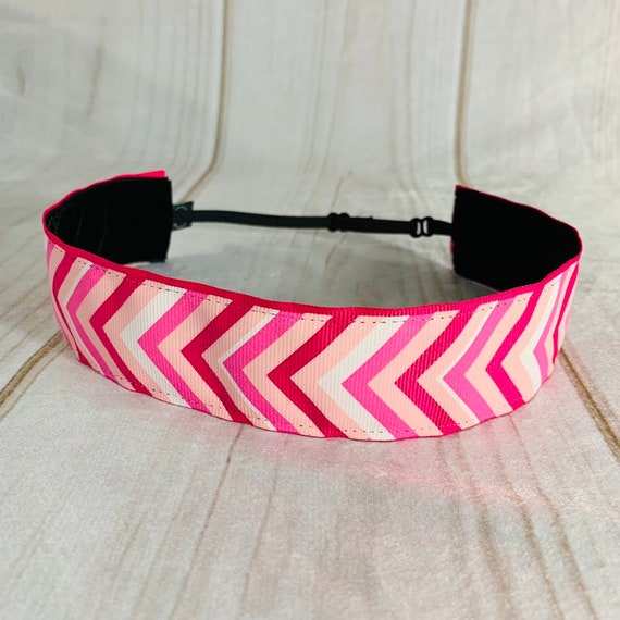 "1.5"" Pink Chevron Headband / Running Headband / Nonslip Headband / Adjustable Pink Headband / Wide Headband / Exercise / Busy Bee Headbands"
