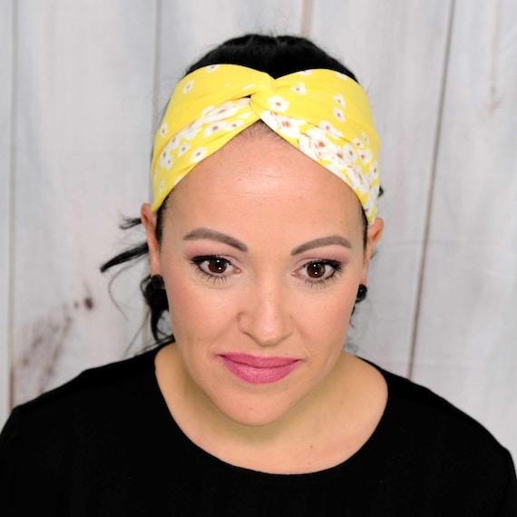 YELLOW FLORAL Headband / Twisted Turban / Top Knot Headband / Wide Headband / Workout Headband / FLOWER Headband / Boho Style Headband