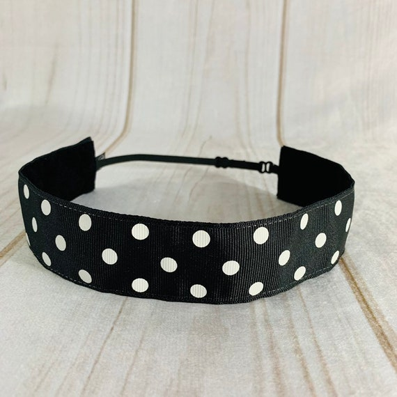 """Adjustable Nonslip POLKA DOT Headband 1.5"""" Black and White Headband Fits Ages 2 Yrs to Adult for Athletics & Fashion by Busy Bee Headbands"""