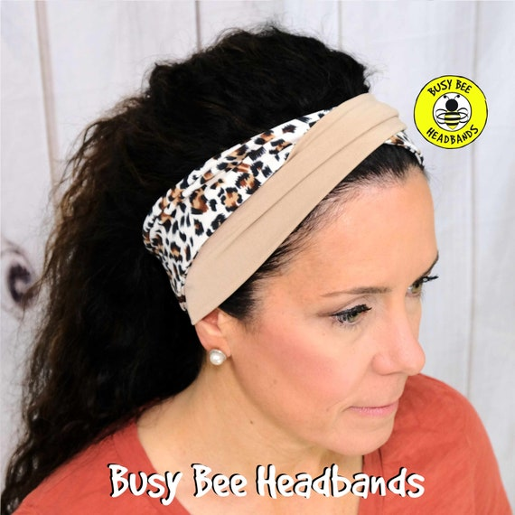 CHEETAH Headband / LEOPARD Headband / Twisted Turban Headband / Top Knot Headband / Wide Workout Headband / Yoga Headband Busy Bee Headbands