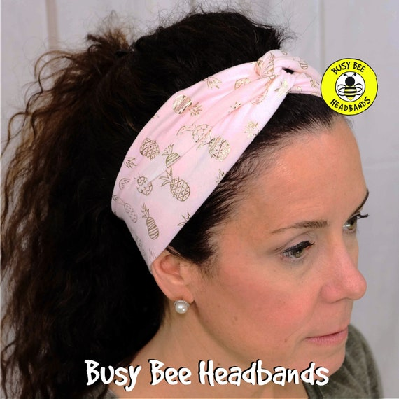 GOLDEN PINEAPPLES Headband / Turban Headband / Wide Top Knot Headband / Workout Headband / Yoga Headband / Boho Style / Busy Bee Headbands