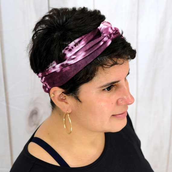 Tie Dye Twisted Turban Headband Boho Head Wrap 'PURE OM' Athletic & Fashion One Size Fits Most by Busy Bee Headbands
