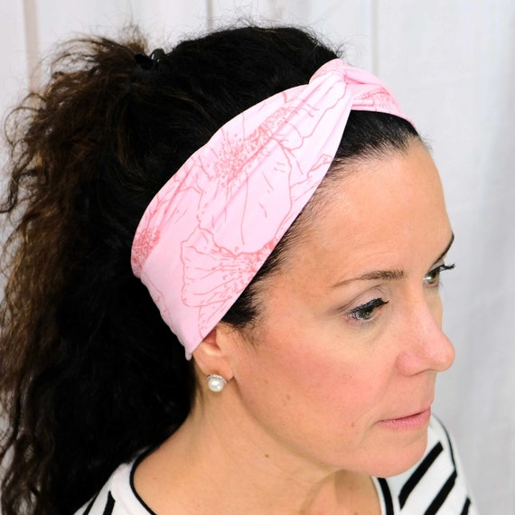 Light Pink Floral Twisted Turban Headband Top Knot Flower Head Wrap Athletic & Fashion One Size Fits Most by Busy Bee Headbands
