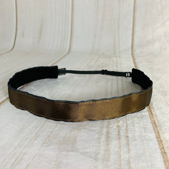 "Adjustable Nonslip BROWN Headband 7/8"" Fits Ages 2 Yrs to Adult for Athletics & Fashion by Busy Bee Headbands"