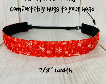 "7/8"" CHRISTMAS SNOWFLAKE Headband / Fitness Headband / Adjustable Nonslip Headband / Button Headband Option by Busy Bee Headbands"