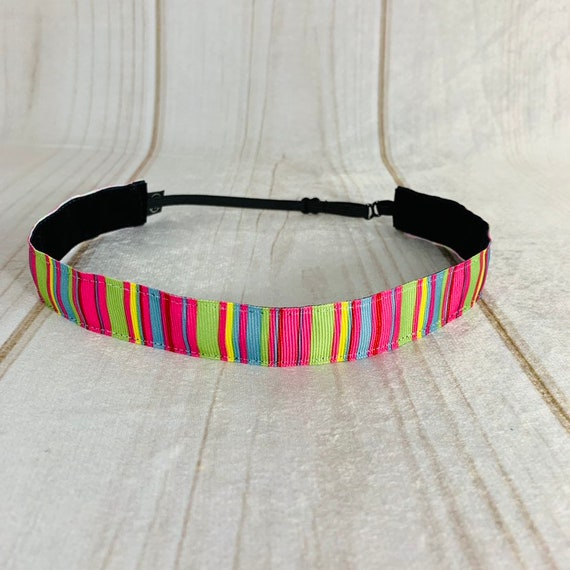 "Adjustable Nonslip COLORFUL Headband 7/8"" COLORFUL STRIPES Headband Fits Ages 2 Yrs to Adult for Athletics & Fashion by Busy Bee Headbands"