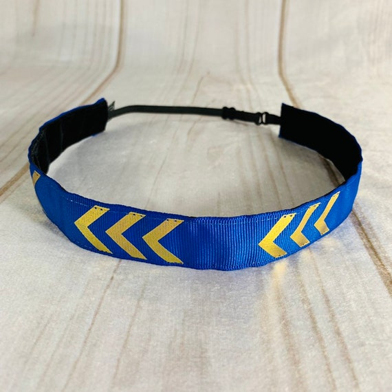 "7/8"" Blue & Gold Chevron Headband / Running Headband / Nonslip Headband / Adjustable Blue Headband / Workout Headband / Busy Bee Headbands"