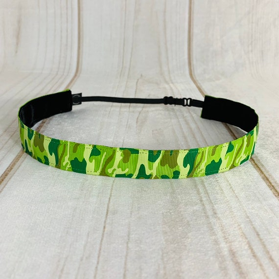 "Adjustable Nonslip Green Camo Headband 7/8"" Camouflage for Athletics & Fashion Fits Ages 2 Yrs to Adult by Busy Bee Headbands"
