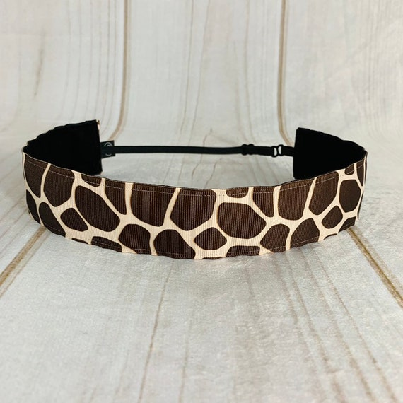"Adjustable Nonslip GIRAFFE Headband 1.5"" SAFARI PRINT Headband for Athletics & Fashion Fits Ages 2 Yrs to Adult by Busy Bee Headbands"