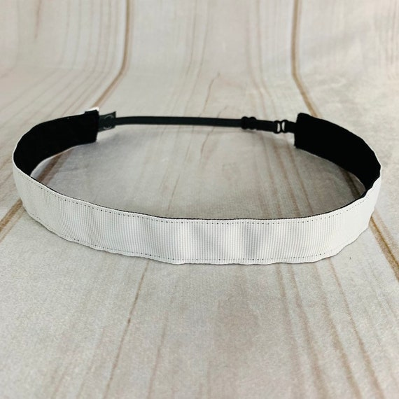 "Adjustable Nonslip WHITE Headband 7/8"" Fits Ages 2 Yrs to Adult for Athletics & Fashion by Busy Bee Headbands"
