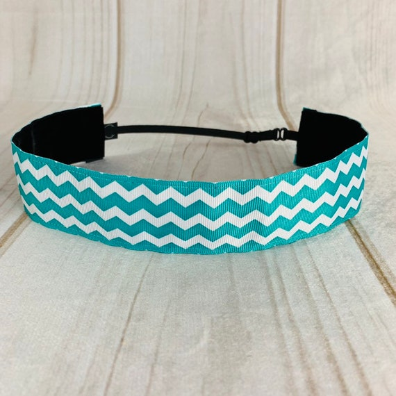 "1.5"" Teal Chevron Headband / Running Headband / Nonslip Headband / Adjustable Wide Headband / Workout Fitness Crossfit / Busy Bee Headbands"