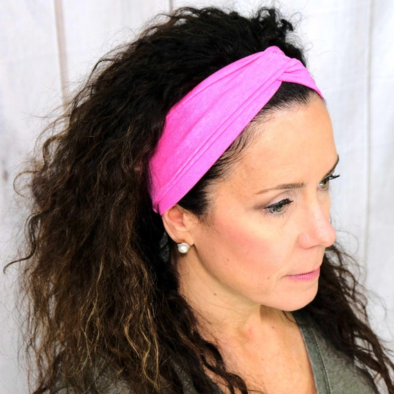 Hot Pink Athletic Turban Headband Top Knot Headband 'SHE POWER' Athletic & Fashion One Size Fits Most by Busy Bee Headbands