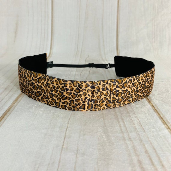"Adjustable Nonslip Headband 1.5"" Animal Print LEOPARD Fits Ages 2 Yrs to Adult for Athletics & Fashion by Busy Bee Headbands"
