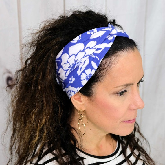 Blue Floral Twisted Turban Headband Boho Headwrap Athletic & Fashion One Size Fits Most by Busy Bee Headbands