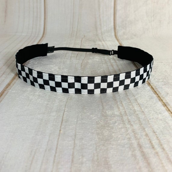 "7/8"" CHECKERED Headband / Running Headband / Nonslip Adjustable Headband / Workout Headband / Fitness Headband / Busy Bee Headbands"