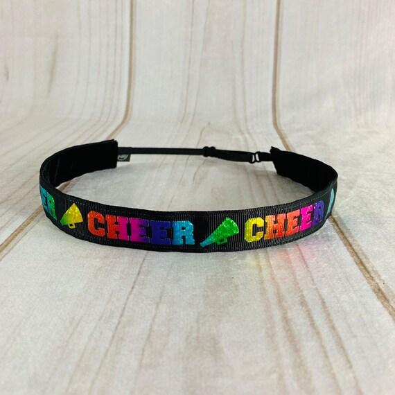 """7/8"""" CHEER Headband / CHEERLEADER Headband / Adjustable Nonslip Headband / Workout Headband / Gift for Cheer Team / Busy Bee Headbands"""
