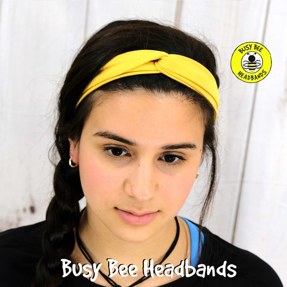 SUNFLOWER YELLOW Headband / Twisted Turban Headband / Top Knot Headband / Wide Headband / Yoga Headband / Boho Style / Busy Bee Headbands