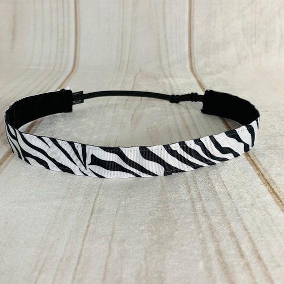 "7/8"" ZEBRA Headband / Running Headband / Nonslip Headband / Adjustable Workout Fitness Headband / Gift for Zebra Lover / Busy Bee Headbands"
