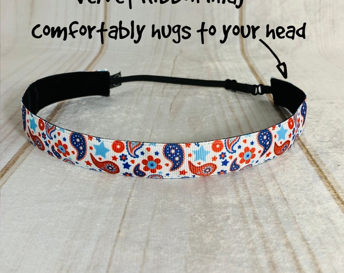 "7/8"" PATRIOTIC PAISLEY Headband / Adjustable Camouflage Headband / USA Americana Headband / Button Headband Option by Busy Bee Headbands"