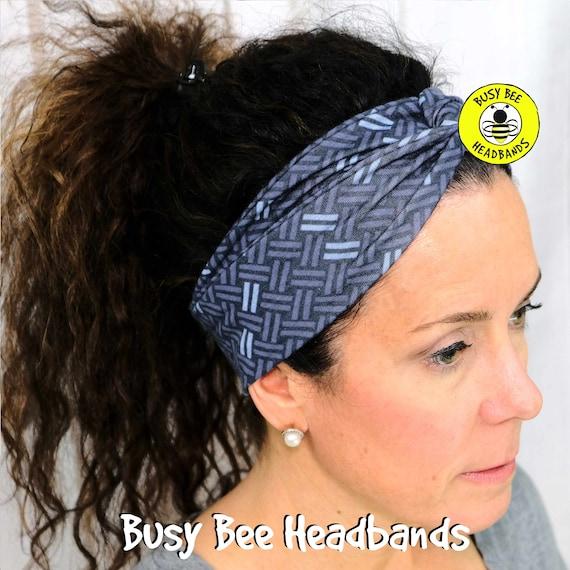 BASKET WEAVE NAVY Headband / Turban Headband / Knotted Headband / Wide Headband / Yoga Headband / Blue Headband / Boho Style Headband