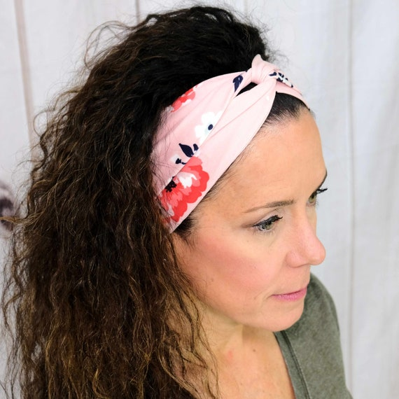 Floral Twisted Turban Headband Flower Boho Head Wrap Athletic & Fashion One Size Fits Most by Busy Bee Headbands