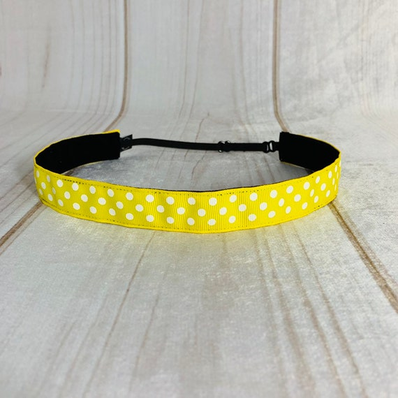 "Adjustable Nonslip POLKA DOT Headband 7/8"" YELLOW Headband Fits Ages 2 Yrs to Adult for Athletics & Fashion by Busy Bee Headbands"