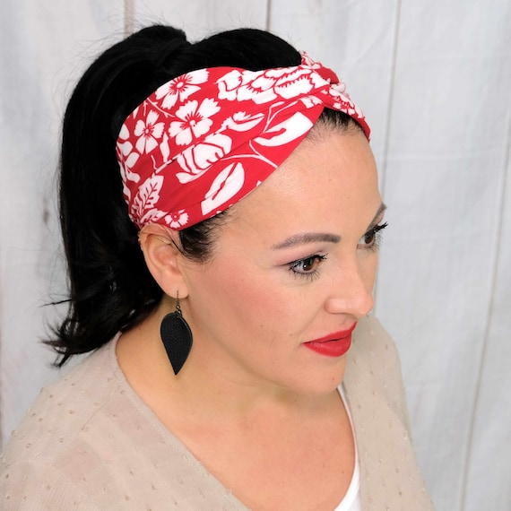 Red Floral Twisted Turban Headband Boho Head Wrap One Size Fits Most by Busy Bee Headbands