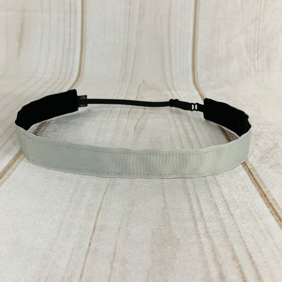 """Adjustable Nonslip GRAY Headband 7/8"""" SOLID GRAY Headband for Athletics & Fashion Fits Ages 2 Yrs to Adult by Busy Bee Headbands"""