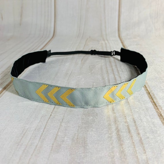 "7/8"" Gray & Gold Chevron Headband / Running Headband / Nonslip Headband / Adjustable Workout Headband / Gray Headband / Busy Bee Headbands"