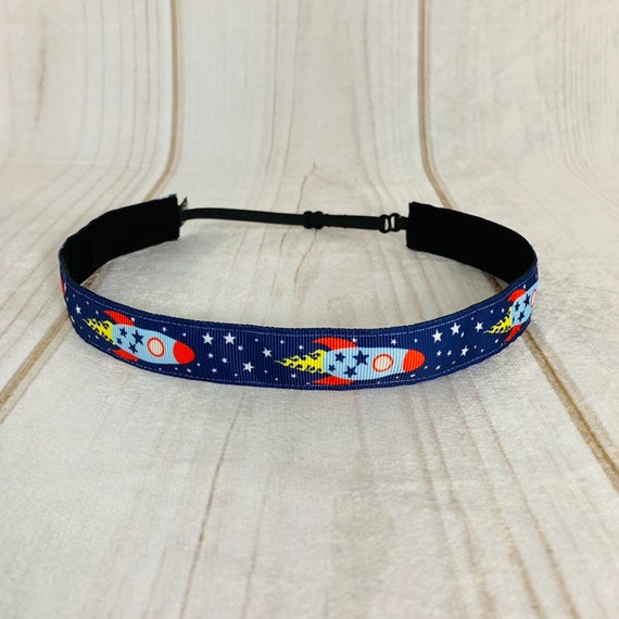 "Adjustable Nonslip Rocket Ship Headband 7/8"" Outer Space Explorers Fits Ages 2 Yrs to Adult for Athletics & Fashion by Busy Bee Headbands"