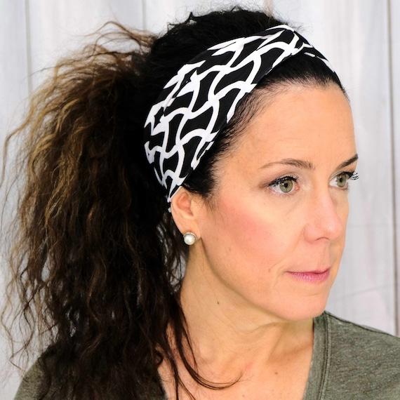 BLACK WHITE Headband / Twisted Turban Headband / Top Knot Headband / Wide Headband / Yoga Headband / Boho Style Headband Busy Bee Headbands