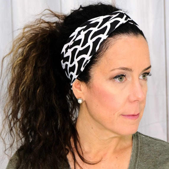 Black White Twisted Turban Headband Boho Head Wrap 'BOSS BABE' Athletic & Fashion One Size Fits Most by Busy Bee Headbands