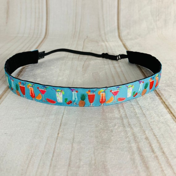 """Adjustable Nonslip MARGARITAS Headband 7/8"""" FRUITY DRINKS Headband Fits Ages 2 Yrs to Adult for Athletics & Fashion by Busy Bee Headbands"""