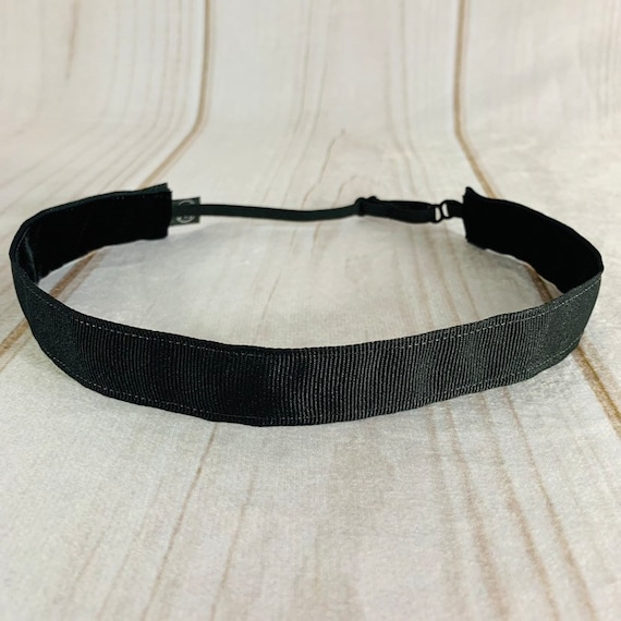 "Adjustable Nonslip SOLID BLACK Headband 7/8"" BESTSELLER! for Athletics & Fashion Fits Ages 2 Yrs to Adult by Busy Bee Headbands"