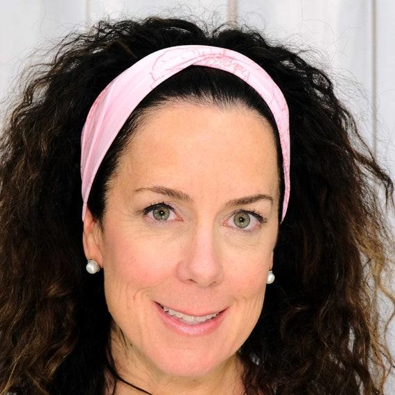 PINK FLORAL Headband / Twisted Turban Headband / Top Knot Headband / Wide Headband / Yoga Headband / FLOWER Headband / by Busy Bee Headbands