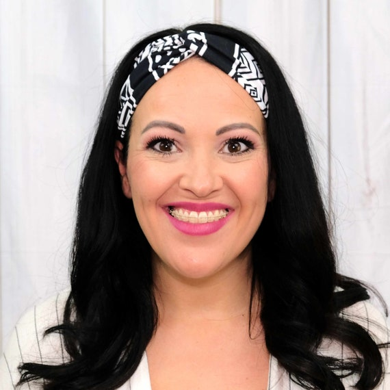 WHITE & BLACK Headband / Turban Headband / Knotted Headband / Wide Headband / Workout Headband / Yoga Headband / Boho Style Headband