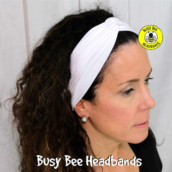 SOLID WHITE Headband / Twisted Turban Headband / Top Knot Headband / Wide Headband / Yoga Headband / Boho Style Headband Busy Bee Headbands