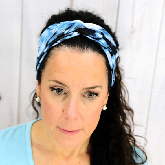 BLUE TIE DYE Headband / Twisted Turban Headband / Top Knot Headband / Wide Headband / Yoga Headband / Boho Style / Busy Bee Headbands
