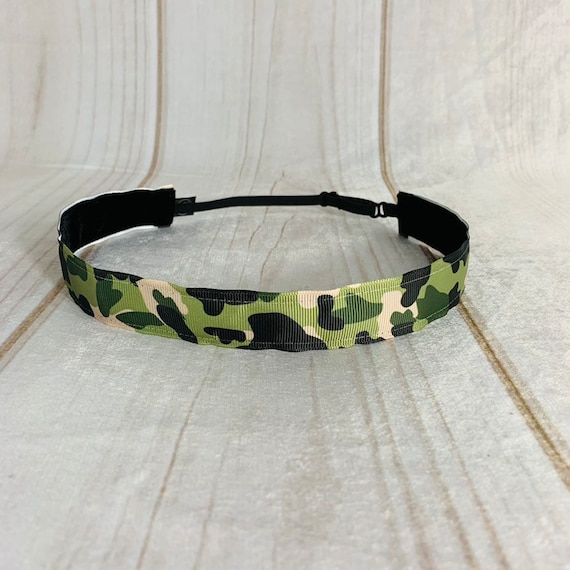 "Adjustable Nonslip Camouflage Headband 1"" Camo Headband for Athletics & Fashion Fits Ages 2 Yrs to Adult by Busy Bee Headbands"