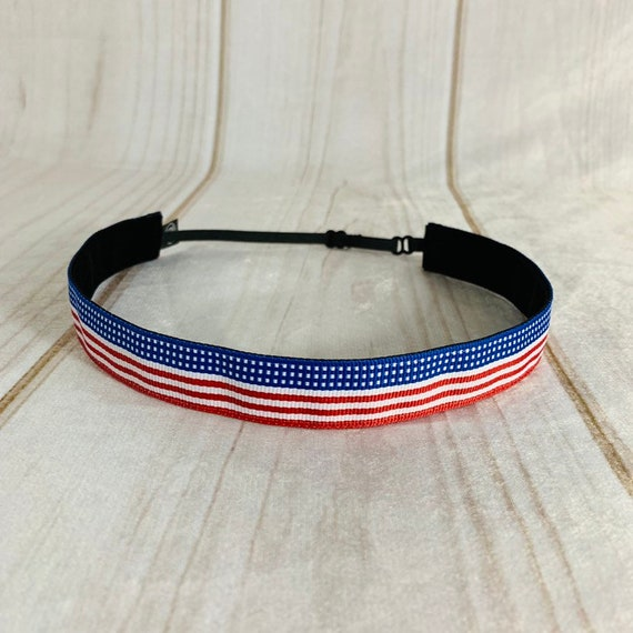 "Adjustable Nonslip USA FLAG Headband 7/8"" PATRIOTIC Headband Fits Ages 2 Yrs to Adult Athletics & Fashion by Busy Bee Headbands"